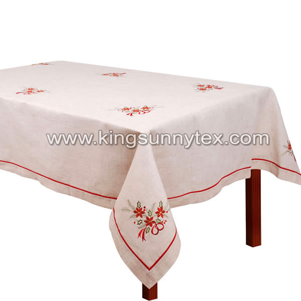 Beautiful Christmas Embroidered Tablecloth