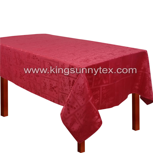 100% Polyester Red Jacquard Table Linen With Christmas Design