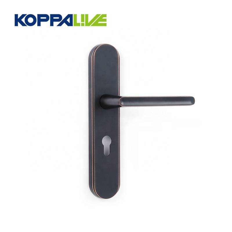 Zinc alloy furniture door hardware locks interior square handle on plate