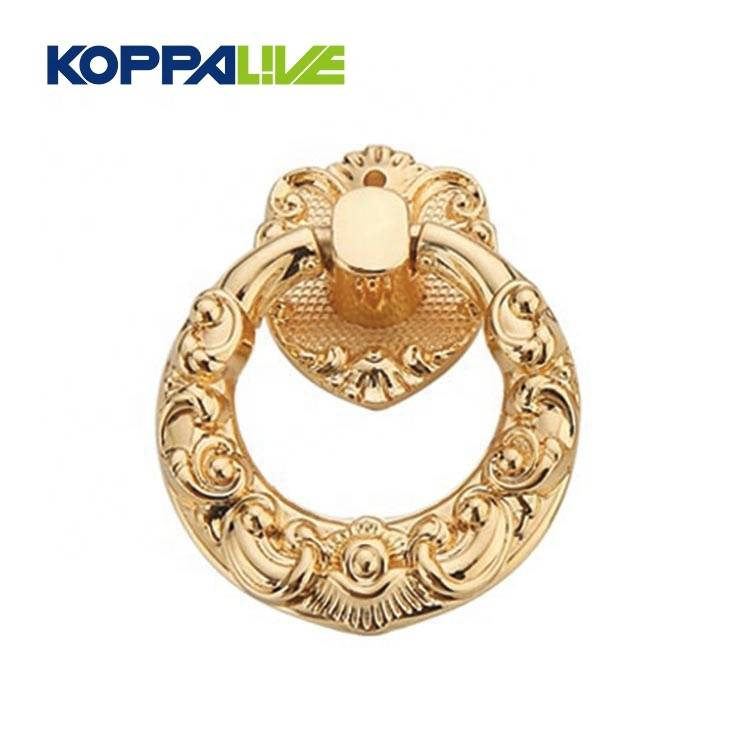 Koppalive Simple modern gold fancy brass furniture hardware drop ring antique cabinet door knocker pulls handles