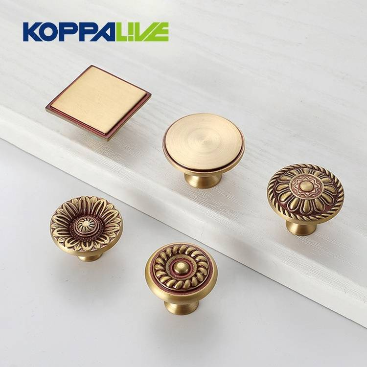 Brass Furniture Hardware Single Hole Kitchen Cabinet Accessories Drawer Copper Pull Knobs