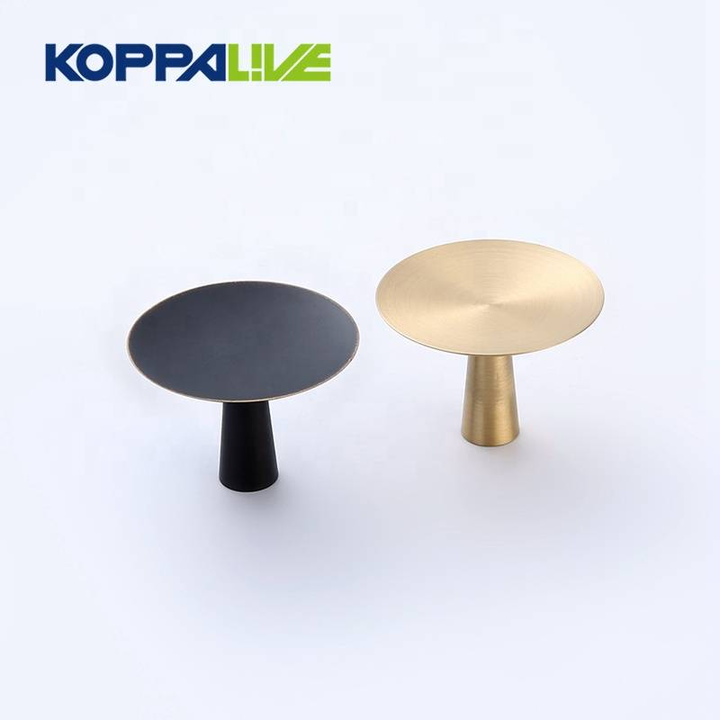 Top quality custom home cabinet round solid brass hardware flat knob pull handle