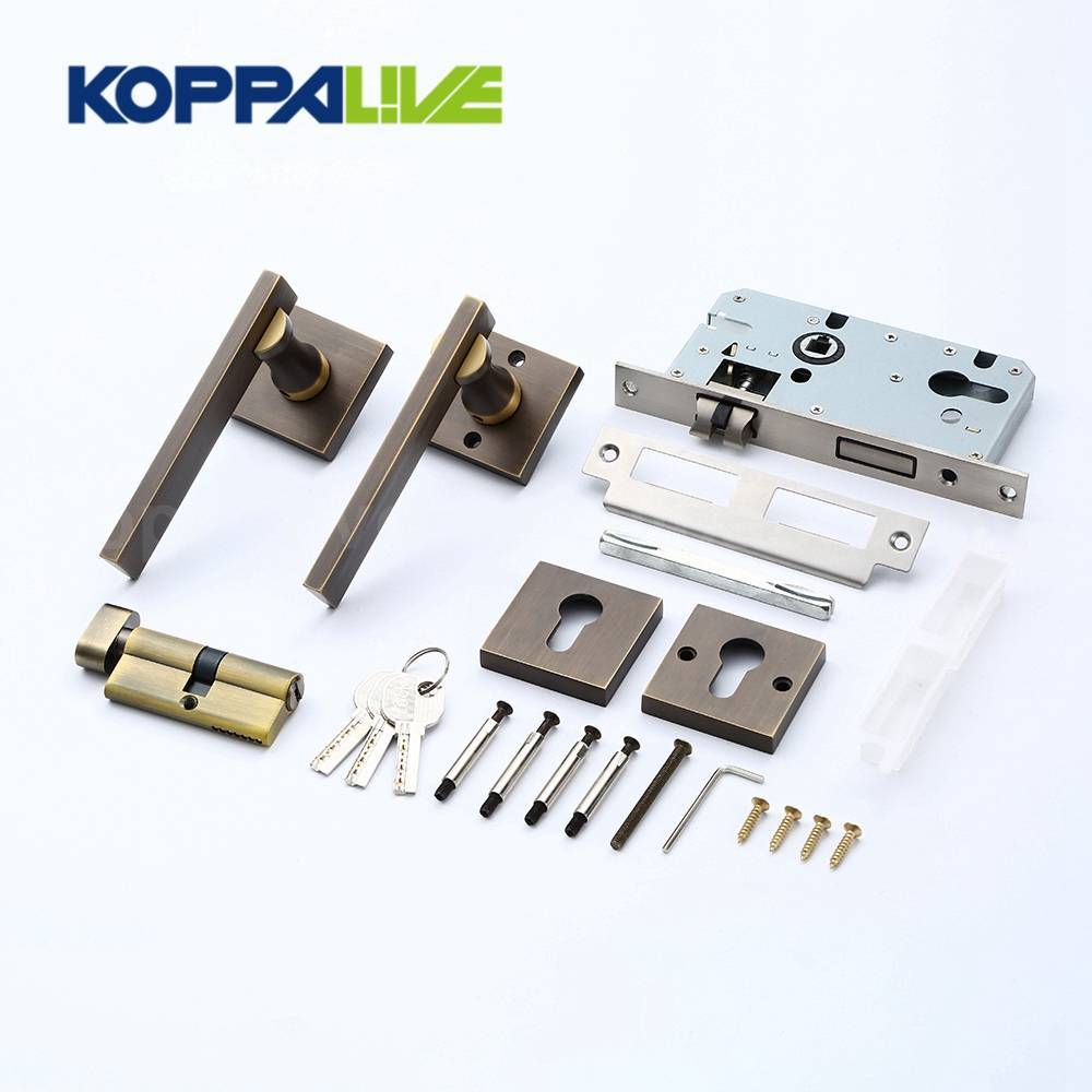 KOPPALIVE Professional design interior bedroom single side brass lever door handle mortise locks set Featured Image