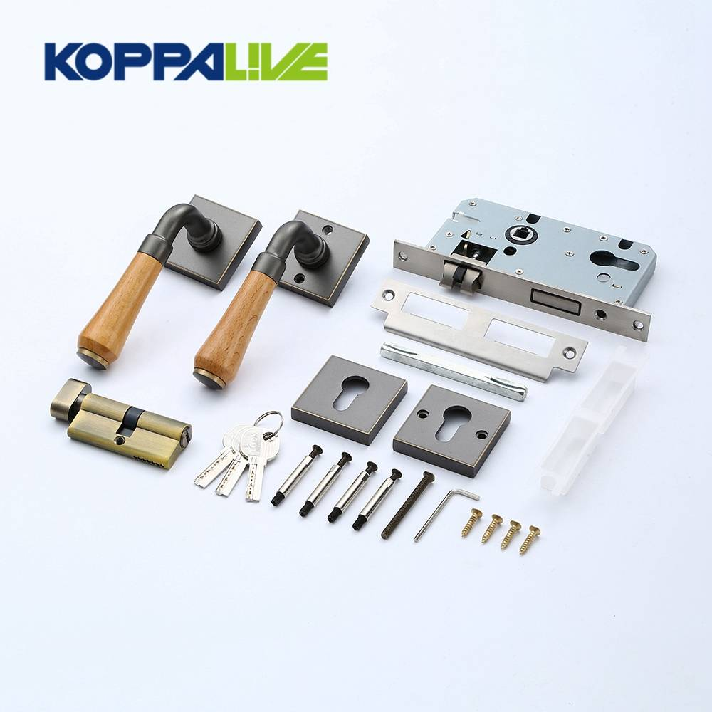 KOPPALIVE Luxury Home Bedroom Antique Brass Sliding Door Handle Mortise Lever Entry Door Lock