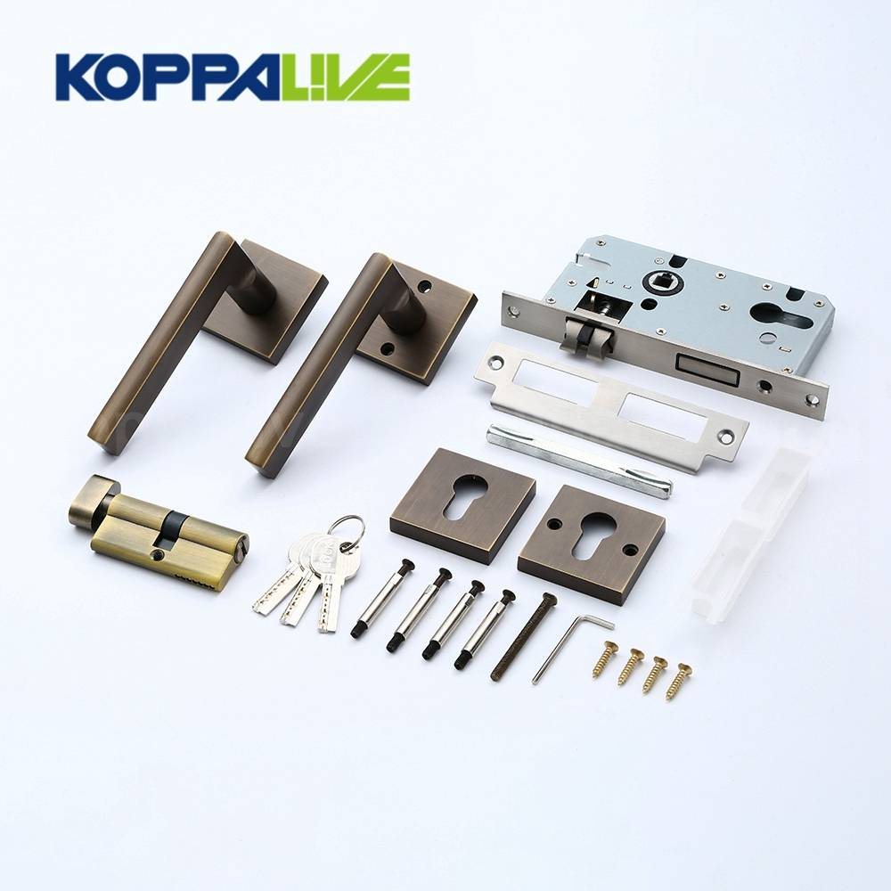 KOPPALIVE Home Furniture Hardware Brass Lever Door Handle Mortise Interior Door Lock