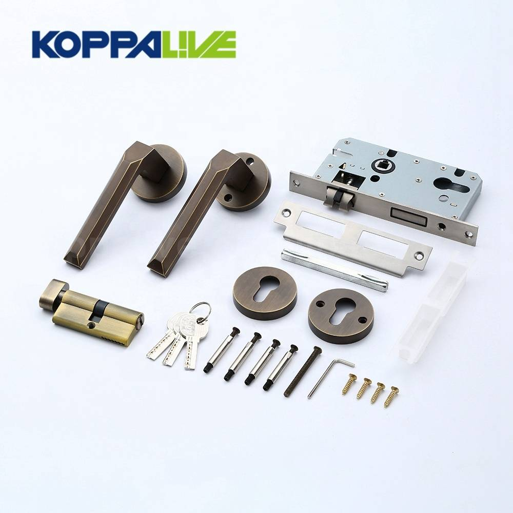 KOPPALIVE Brand Brass Home Bedroom Living Safety Mortise Entry Door Lock and Lever Door Handle