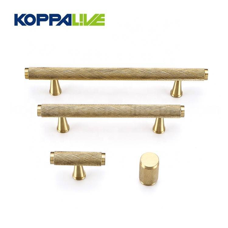 Knurled Texture T Bar Bedroom Cupboard Handle Pull Solid Brass Cabinet Door Handles Featured Image