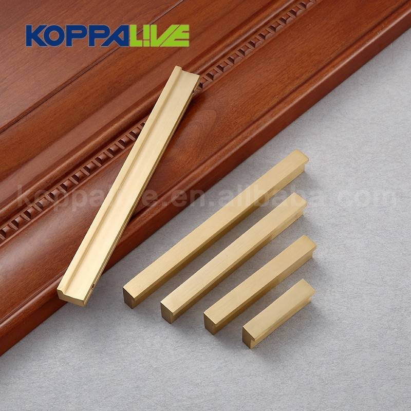Nordic L shape luxury furniture hardware solid brass handle, bedroom cabinet drawer copper pulls handles