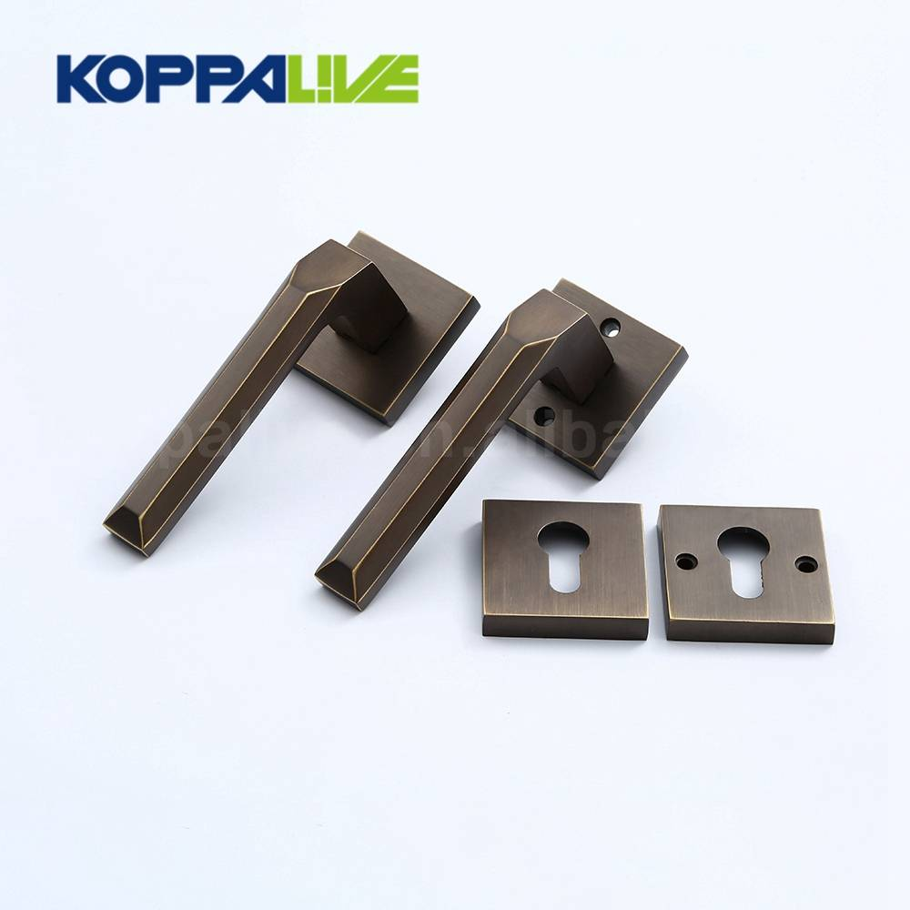 Simple Design Hotel Safety Furniture Mortise Door Lock Set Square Brass Lever Door Pull Handle