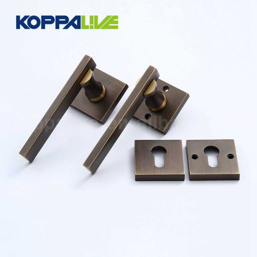 KOPPALIVE Professional design interior bedroom single side brass lever door handle mortise locks set