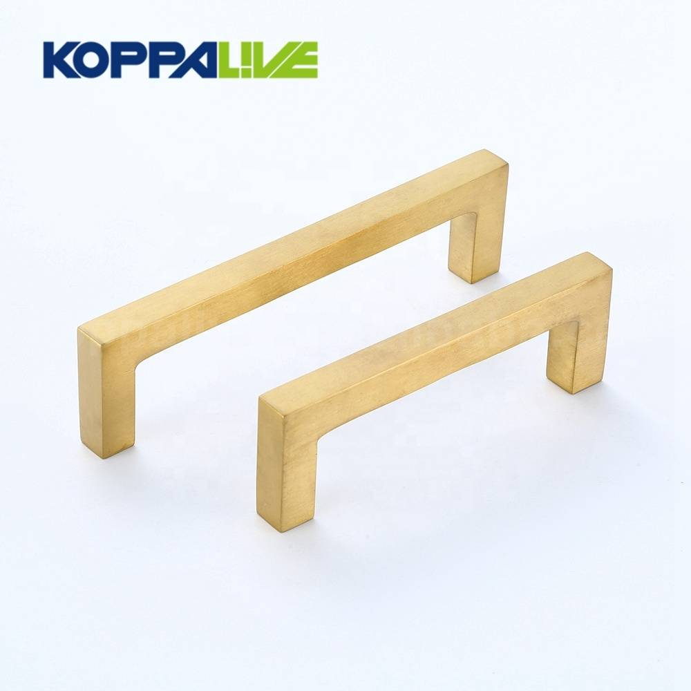 Golden bedroom furniture cabinet hardware accessories square solid brass drawer closet pull handle