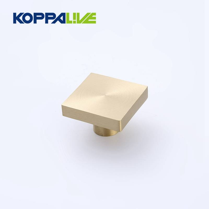Home decor square pure brass modern style gold drawer wardrobe knob for bedroom kitchen cabinets