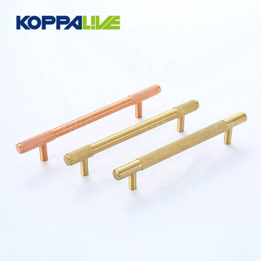 Kitchen Furniture Hardware T Bar Copper Drawer Handle Cabinet Cupboard Solid Brass Knurled Pull Handles