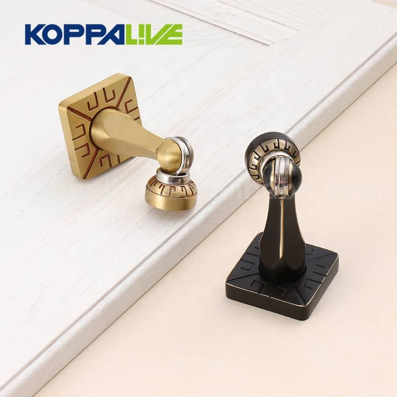 Koppalive european style furniture hardware classical carved interior brass magnetic door stopper