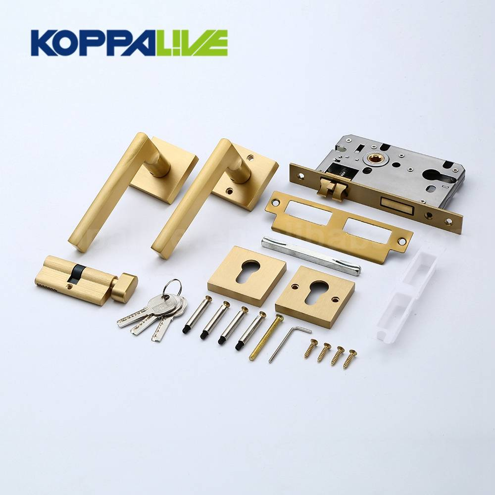 KOPPALIVE Brand Brass Internal Mortise Lock Door Lever Handle With Lock Body and Lock Cylinder