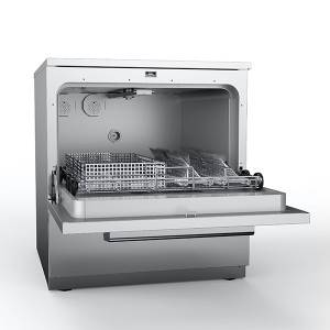 Benchtop washer with automatic opening and closing door technology