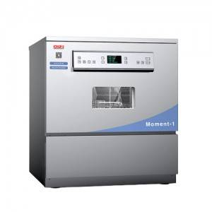 Benchtop washer with automatic opening and clos...