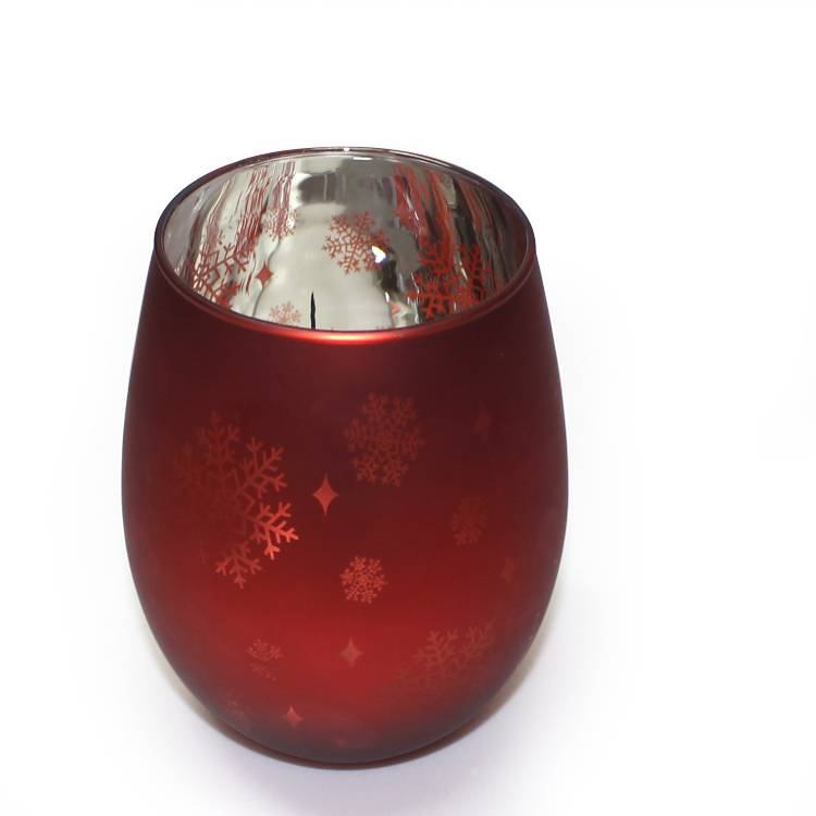 custom design glass candle holder 16oz 500ml snowflake red oval shape candle jar glass