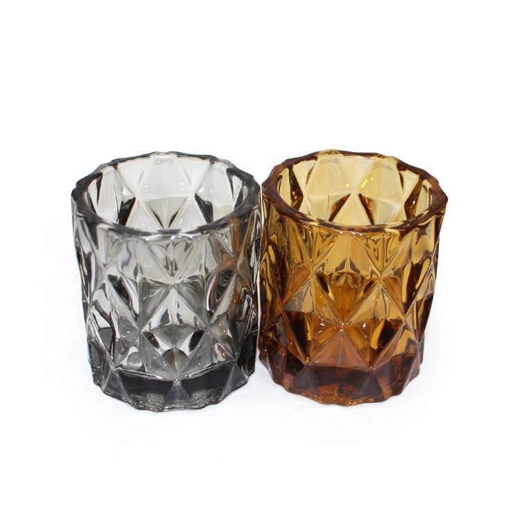LX home decorative classic different embossed colored glass votive grey candle holders decor