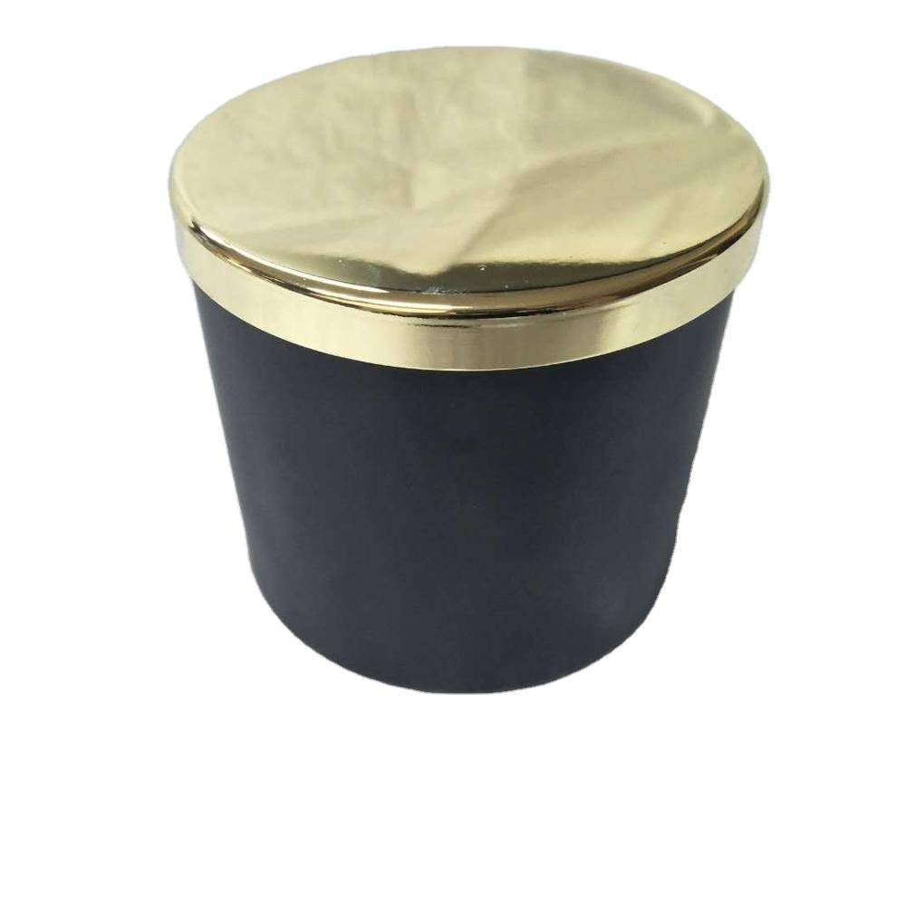 wholesale thick wall thick bottom clear glass candle jars with wooden lids for candle making