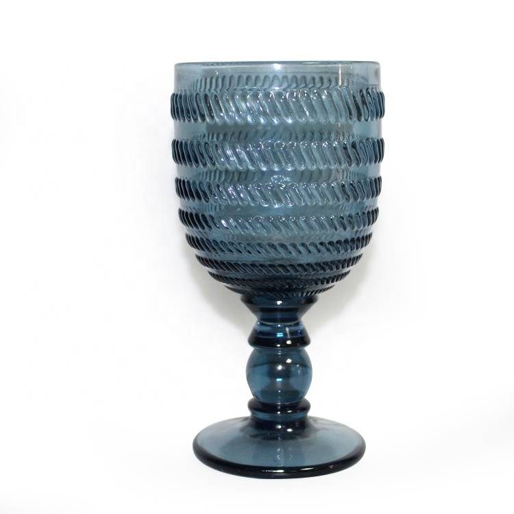 300ml hand pressed vintage embossed blue colored wine glass goblet
