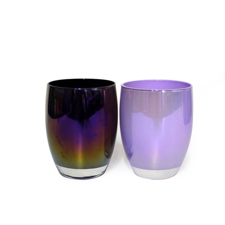 200ml  custom different inner colored ion plating rianbow glass ball shaped scented candle jar