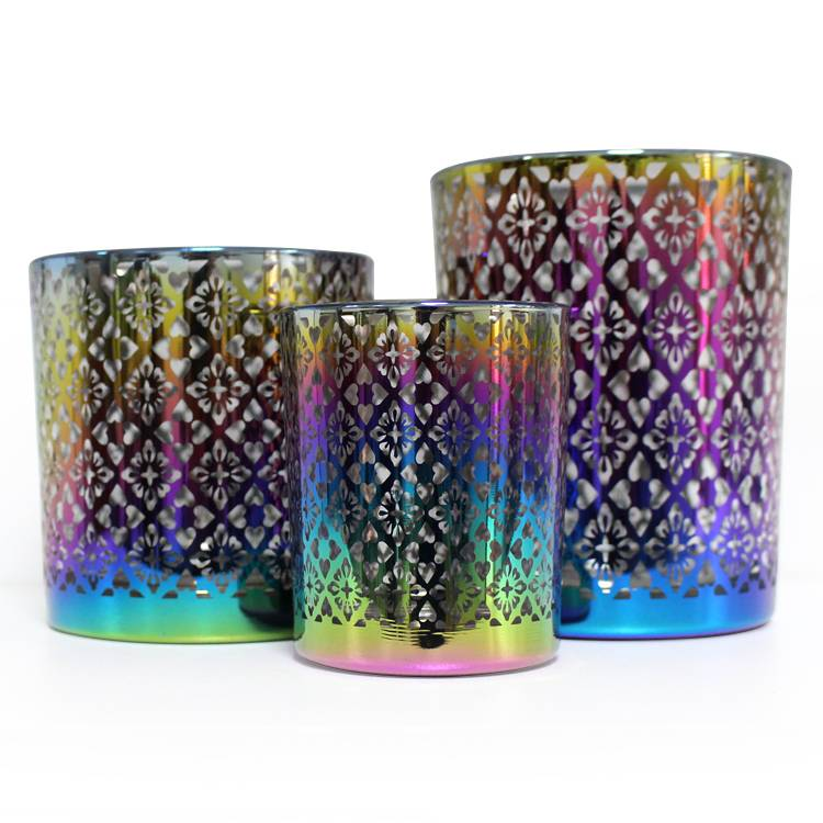 LX 6oz 8oz 12oz cylinder 3pcs candle holder set custom design luxury iridescent glass candle jar