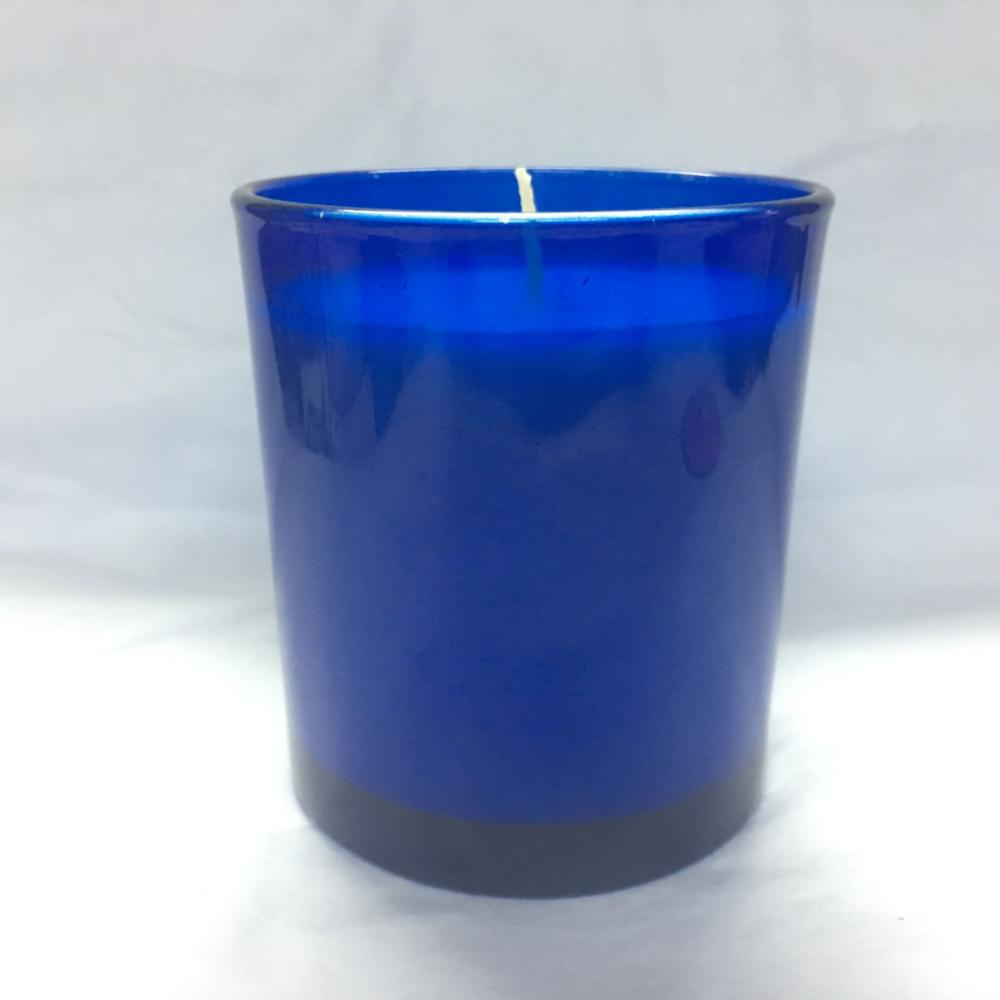 FSC8090 size 8x9cm wax 235g burning time 39hours blue color paraffin custom scented candle