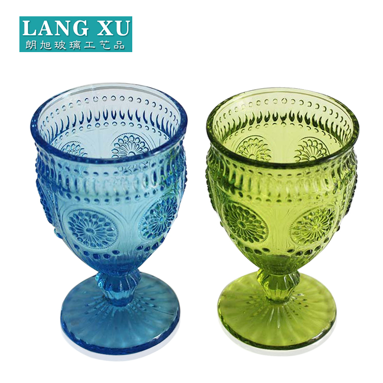 Factory direct wholesale handmade color footed glass wine