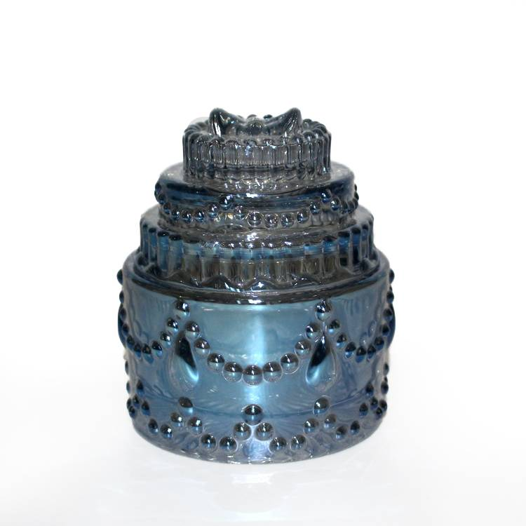 best selling blue pearlized candy round cake shaped luxury glass candy jar glass container with lid