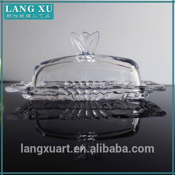 classic glass butter dish with crown lid