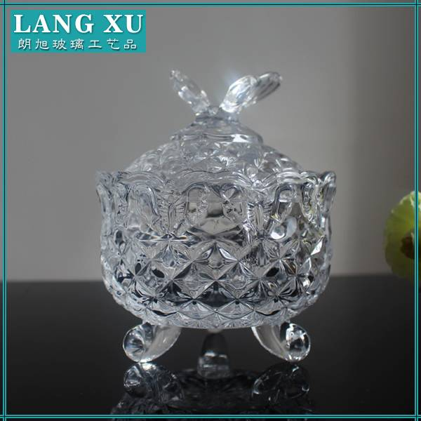 Butterfly shape clear candle glass with lid