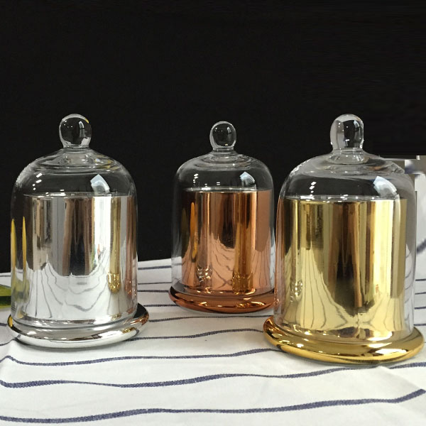 LXSX-112M gold copper silver dome cloche bell candle glass jar dome lid