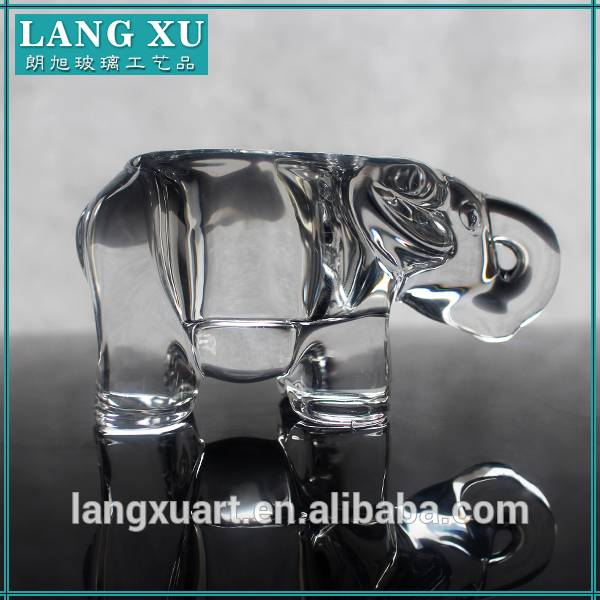 elephant clear glass tealight candle holder