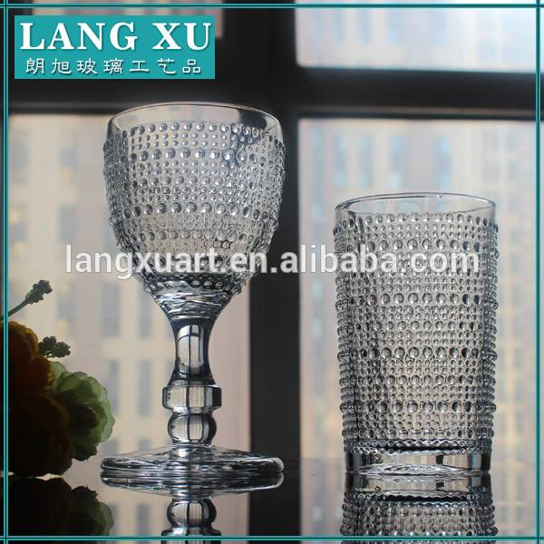 Factory direct hand press clear goblet wine glass