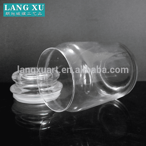 LX010 high capacity transparent 580ml airtight glass jar with silicone for wax candle or food storage