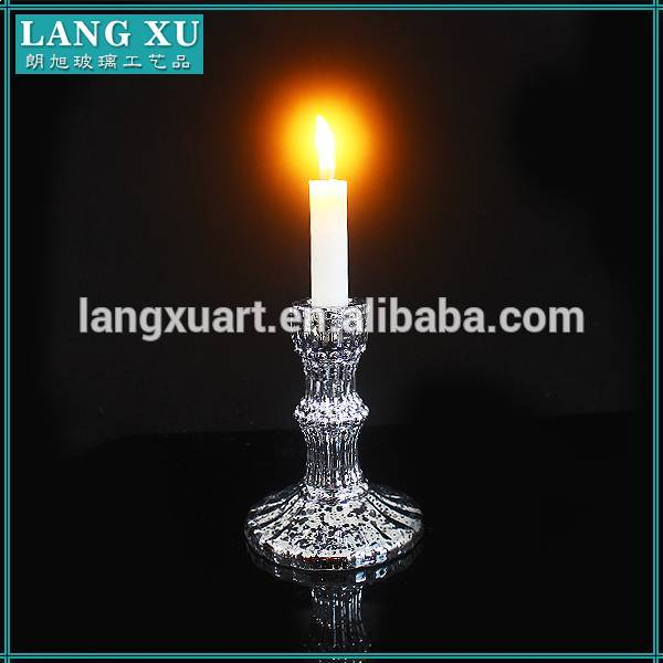 Electroplated Short cheap table wedding decoration glass candlestick