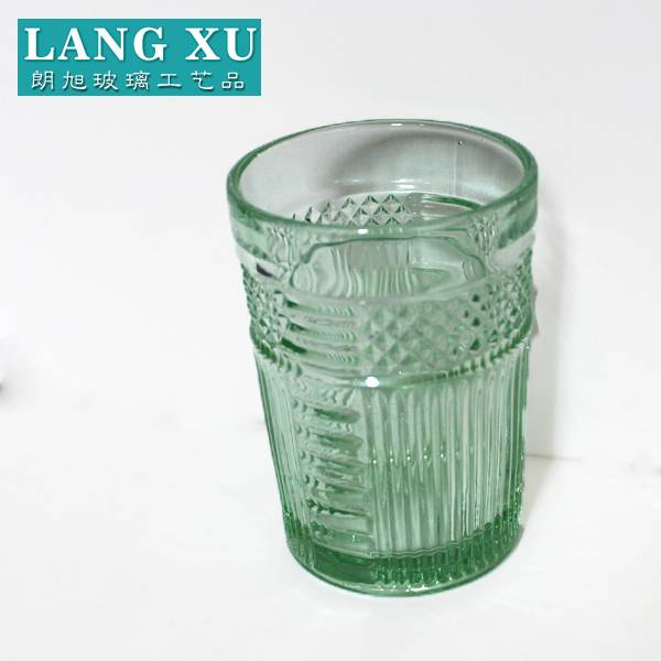 10.2*16cm manufactured lead free solid light green drinking glass tumbler