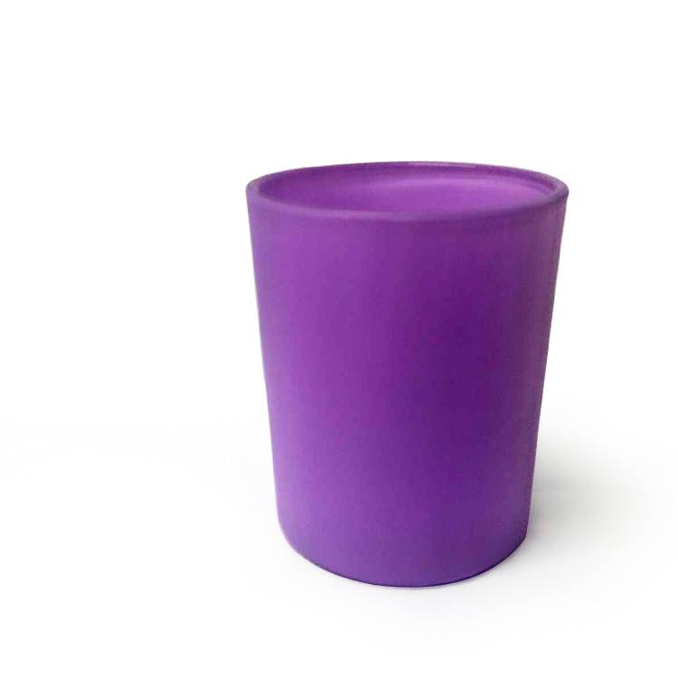 75x92mm 7oz luxury matte christmas purple glass cylinder candle holder