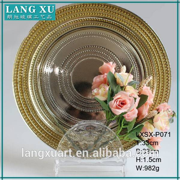 LX-P071 centrifugal 33cm round raised dot gold silver beads glass plate charger Featured Image