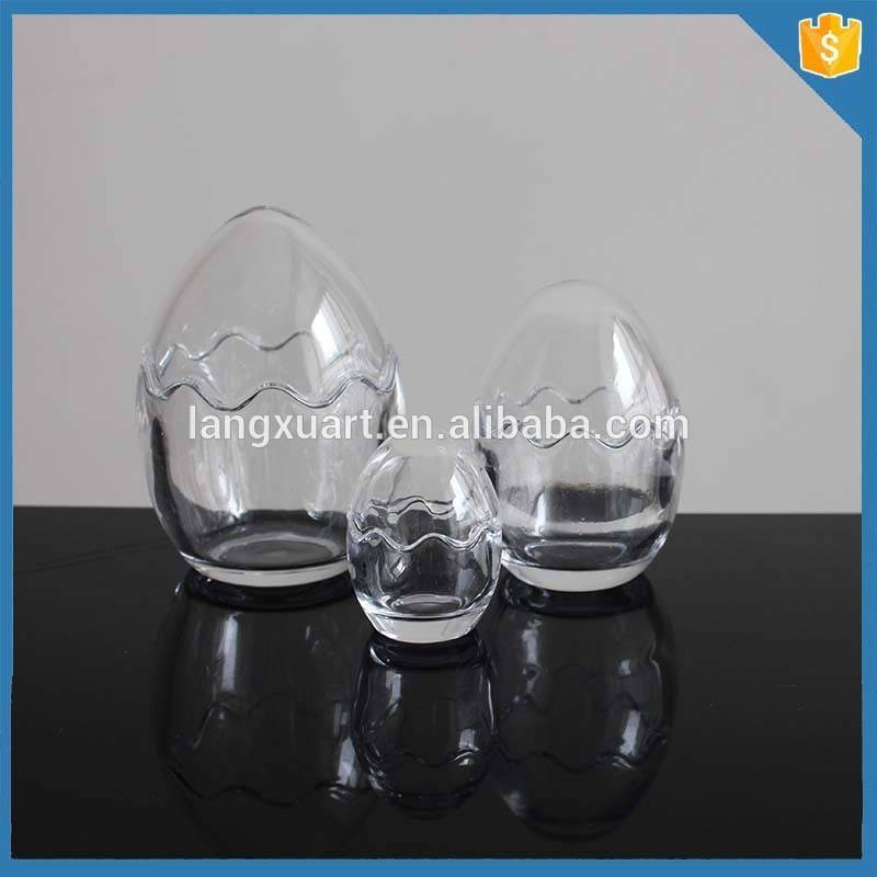 Gift Box Three Sizes Crystal Scented Canlde Jar Egg Shaped Glass Votive