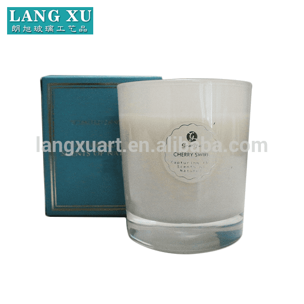 LXFJ001 size 7.2×8.5cm wax 130g burning time 21hours metallic color scented paraffin candle in glass jar