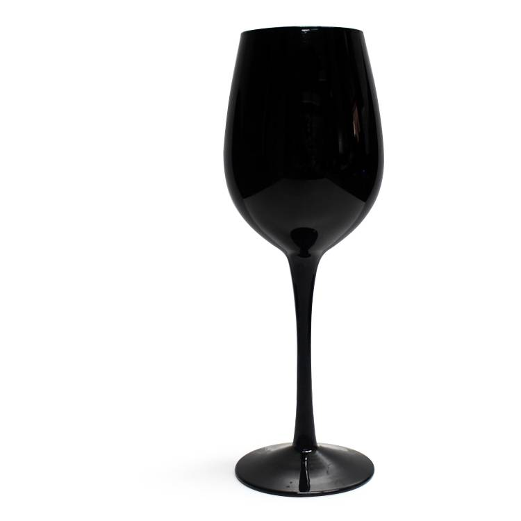 glassware supplier eco-friendly new food grade colored lead free stemed solid black coloured custom wine glasses