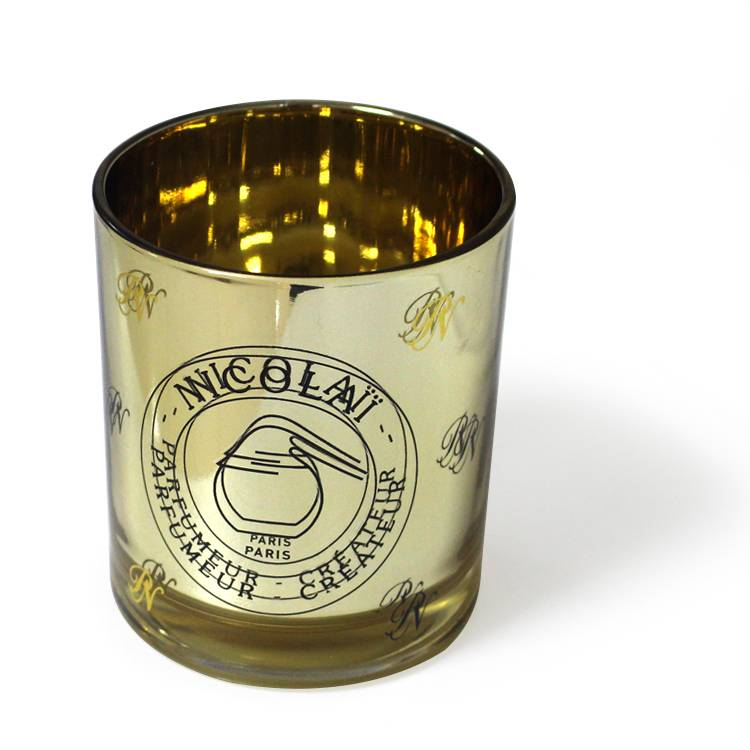 300ml 8*9cm customized logo printed gold inside plating luxury fancy glass candle jar wholesale