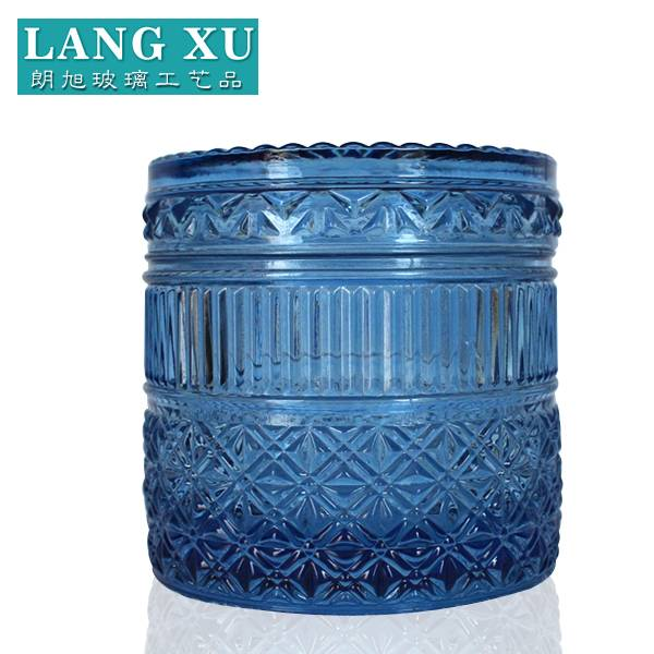 LXHY01 10.5×10.5cm Elegant wholesale blue glass christmas candle jars
