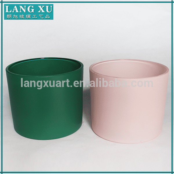 colored Straight glass candle cup for sale candle holder glassware wholesale