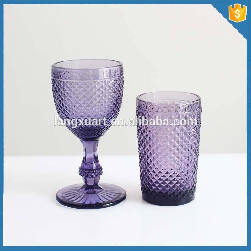 crystal pineapple pattern cheap colored glass goblet
