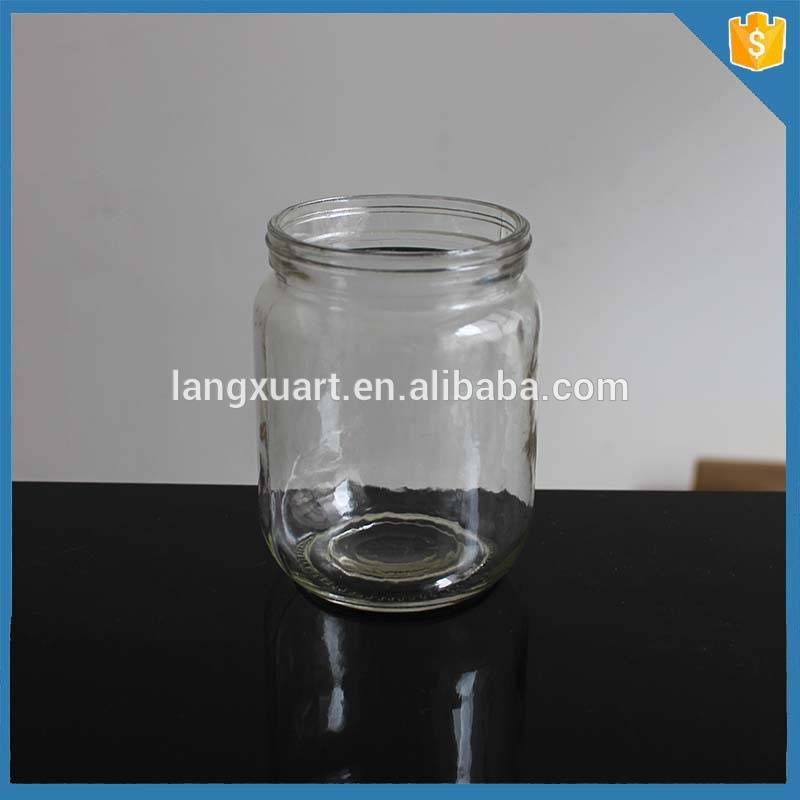 500ml glass cylinder metal lid mason jar without handle