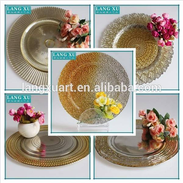 LX-P071 centrifugal 33cm round raised dot gold silver beads glass plate charger