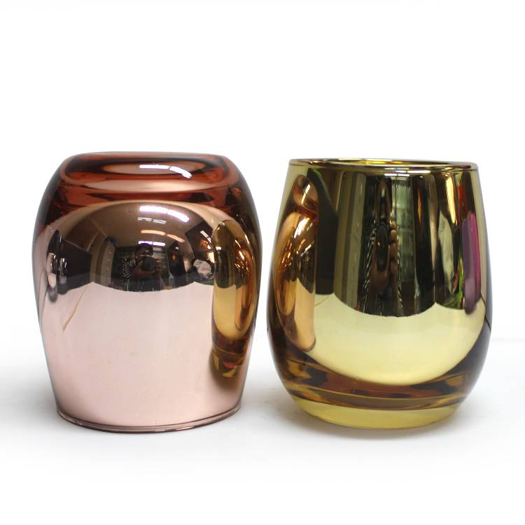 new electroplating design  small round glass jar scented candle holder